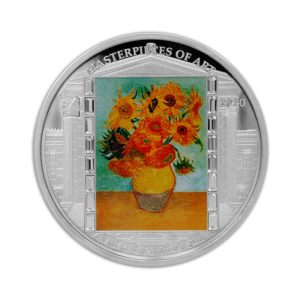 Cook Islands 2010 - 20$ Masterpieces of Art - Słoneczniki - Vincent van Gogh - 3 uncje Srebrna Moneta