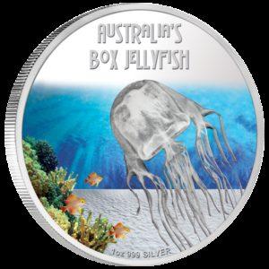 Tuvalu 2011 - 1$ Śmiertelne i Niebezpieczne - Meduza Box Jellyfish - 1 oz. Srebrna Moneta