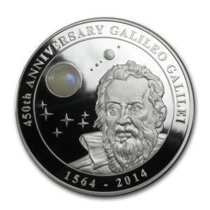 Cook Islands 2014 - 10$ Galileusz 450-lecie Kamień Księżycowy - 2 oz. Srebrna Moneta