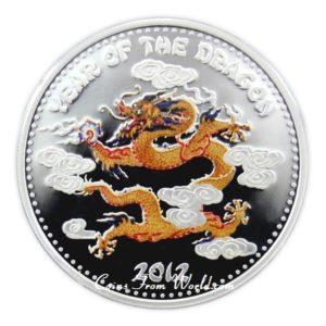 Laos 2012 - 1000 Kip Rok Smoka Lunar Chiński Kalendarz - 1 oz Srebrna Moneta Kolor