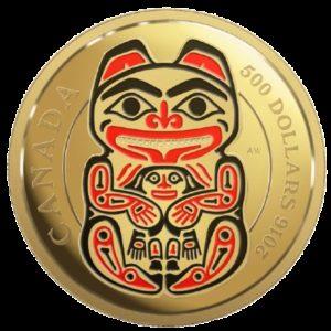 Kanada 2016 - 500$ Mityczna Kraina Plemienia Haida Niedźwiedź - 5 Uncji Czystego Złota