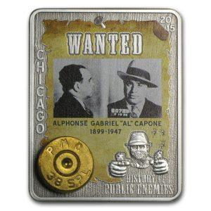 Republika Środkowej Afryki 2015 - 1000 franków Al Capone Wrogowie Publiczni Łuska Rewolweru - 1 Uncja Srebrna Moneta