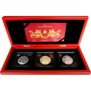 Rwanda 2012 - 3 x 500 Franków Rok Smoka Monety 3D - 3 x 1 oz Srebrny Zestaw Monet