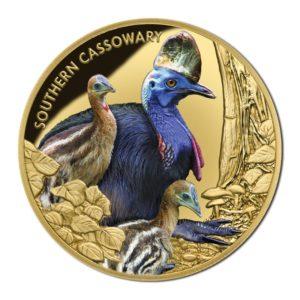 Niue 2016 - 100$ Zagrożone i Wymarłe Gatunki Kazuar Hełmiasty - 1oz Gold Proof Coin