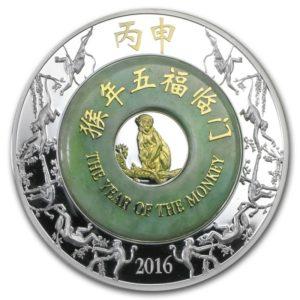 Laos 2016 - 2000 KIP Chiński Rok Małpy Jadeit - 2 oz Srebrna Moneta