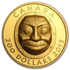 Kanada 2013 - $200 Babcia Maska Księżycowa - 1 Uncja Czystego Złota Wysoki Relief