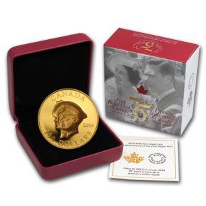 Kanada 2014 - $200 - 75 Rocznica Pierwszej Wizyty Królewskiej w Kanadzie - 1 Uncja Czystego Złota Wysoki Relief