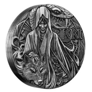 Tuvalu 2016 - 2$ Bogowie Nordyccy Loki - 2 Uncje Srebrna Moneta Wysoki Relief