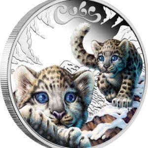 Tuvalu 2016 - 0,5$ Młode Zwierzęta - Lampart Śnieżny - 1/2oz Srebrna Moneta