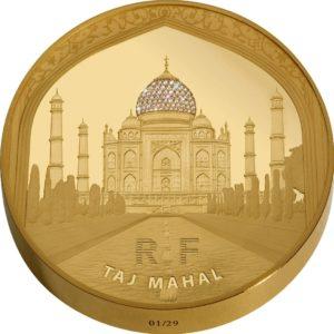 Francja 2010 - 5000 Euro Taj Mahal + 68 Diamentów Cartiera - 1 kilogramowa Złota Moneta
