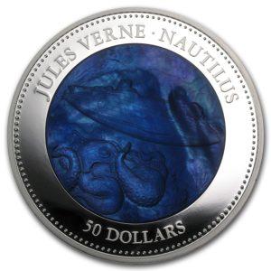 Cook Islands 2014 - 50$ Nautilus Juliusz Verne Kapitan Nemo Masa Perłowa - 5 Uncji Srebra Moneta