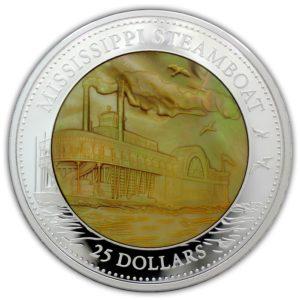 Cook Islands 2015 - 25$ Parowiec Mississippi Masa Perłowa - 5 Uncji Srebrna Moneta