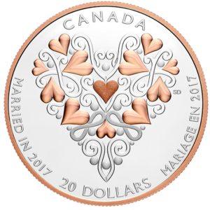 Kanada 2017 - 20$ Najlepsze Życzenia w Dniu Ślubu - 1 Uncja Srebrna Moneta