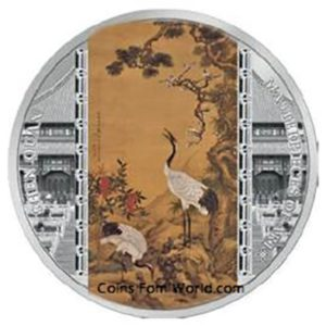 Cook Islands 2017 - 20$ Masterpieces Of Art Shen Quan Żurawie - 3 Uncje Srebrna Moneta