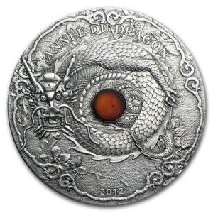 """Togo 2012 - 1500 Franków Rok Smoka Bursztyn Lunar """"1"""" - 2 Uncje Srebrna Moneta"""