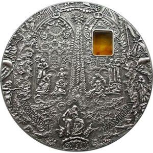 "Palau 2010 - 10$ Mineral Art Bursztyn Sagrada Familia ""2"" - 2 Uncje Srebrna Moneta"