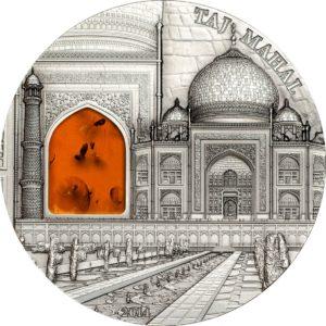 """Palau 2014 - 10$ Mineral Art Bursztyn Taj Mahal """"6"""" - 2 Uncje Srebrna Moneta"""