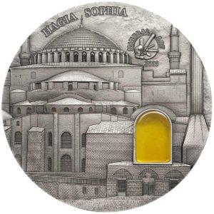 "Palau 2016 - 10$ Mineral Art Bursztyn Bazylika Hagia Sophia ""8"" - 2 Uncje Srebrna Moneta"