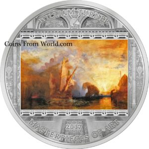Cook Islands 2017 - 20$ Masterpieces Of Art William Turner Ulysses - 3 Uncje Srebrna Moneta