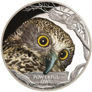 Tuvalu 2018 - 1 $ Zagrożone i Wymarłe Gatunki Potężna Sowa - 1 Uncja Srebrna Moneta
