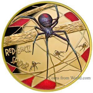 """Niue 2018 - 100$ Śmiertelne I Niebezpieczne Pająk Red-back Spider """"1"""" - 1 oz Złota Moneta"""