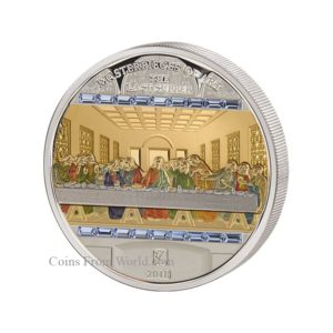 Cook Islands 2018 - 25$ + 20$ Masterpieces of Art Ostatnia Wieczerza Supper - 3 oz Ag. + 1/4 oz Au