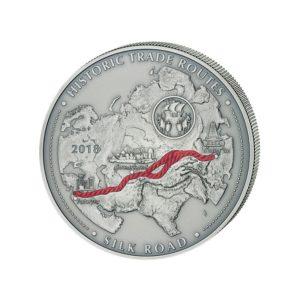 """Kamerun 2018 - 5000 Franków Szlak Jedwabny Szlaki Handlowe """"3"""" - 5 Uncji Srebra"""