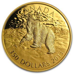 """Kanada 2013 - $350 Ikony Kanadyjskiej Przyrody Niedźwiedź Polarny """"1"""" - 35 Gramów Czystego Złota"""