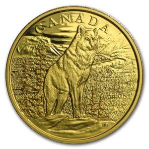 """Kanada 2015 - $350 Ikony Kanadyjskiej Przyrody Wilk Alfa """"3"""" - 35 Gramów Czystego Złota"""