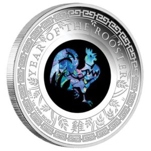 "Australia 2017 - 1$ Rok Koguta z Opalem Lunar ""2"" - 1 Uncja Srebrna Moneta"