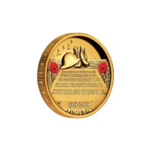 """Australia 2015 - 200$ ANZAC Spirit Na Polach Flandrii """"1"""" - 2 Uncje Złota Wysoki Relief"""