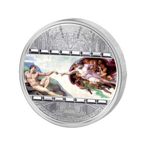 Cook Islands 2008 - 20$ Masterpieces of Art Stworzenie Adama - Michał Anioł - 3 uncje Srebrna Moneta