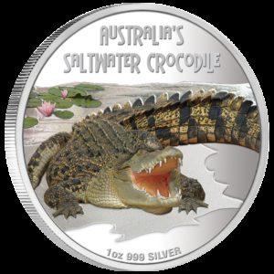 Tuvalu 2009 - 1$ Śmiertelne i Niebezpieczne - Krokodyl różańcowy - 1 oz. Srebrna Moneta