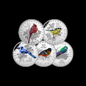 Kanada 2015 - 5 x 10$ Śpiewające Ptaki Kanady - Srebrny Zestaw 5 - Monet
