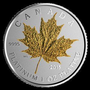 Kanada 2015 - 300$ Liść Klonowy Platerowany Złotem - 1 oz. Platynowa Moneta
