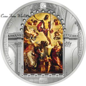 Cook Islands 2016 - 20$ Masterpieces of Art Wielkanocna Eycja - Zmartwychwstania Chrystusa - Tintoretto - 3 oz. Srebrna Moneta