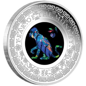 Australia 2016 - 1$ Rok Małpy z Opalem - 1 Uncja Srebrna Moneta