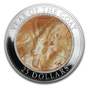 Cook Islands 2015 - 25$ Rok Kozy Masy Perłowej Lunar - 5 Uncji Srebrna Moneta