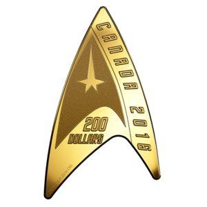 Kanada 2016 - 200$ 50 Rocznica Star TrekTM: Moneta Delta - Moneta z Czystego Złota