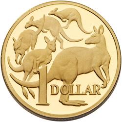 Australia 2009 - 1$ 25 Rocznica Pięć Kangurów - Złota Moneta