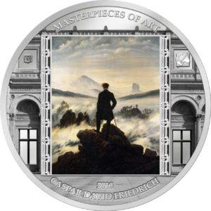 Cook Islands 2016 - 20$ Masterpieces of Art - Wędrowiec Nad Morzem Mgły Caspar David Friedrich - 3 uncje Srebrna Moneta