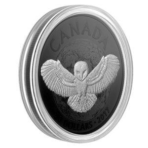"""Kanada 2017 - 1$ Nocne zwierzęta Sowa płomykówka Rodowana """"1"""" - 1 Uncja Srebrna Moneta"""