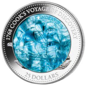 Wyspy Salomona 2017 - 25$ HM Bark Endeavour Masa Perłowa Transport - 5 Uncji Srebrna Moneta