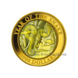 """Cook Islands 2013 - 1000$ Rok Węża Masa Perłowa Lunar """"1"""" - 5 Uncji Złota Moneta"""