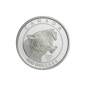 """Kanada 2008 - 300$ Tygrys Szablozębny """"2"""" - 1 Oz. Platynowa Moneta"""