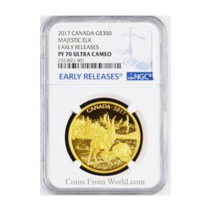"""Kanada 2017 - $350 Ikony Kanadyjskiej Przyrody Majestatyczny Jeleń """"5"""" - NGC PF70 Early Release Złota Moneta"""