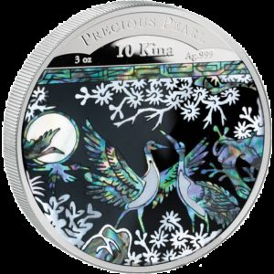 Papua New Guinea 2014 - 10 Kina Perłowe Żurawie - 3 oz. Srebrna Moneta