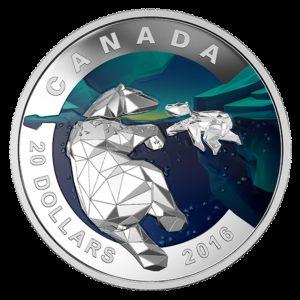 Kanada 2016 - 20$ Geometria w Sztuce Niedźwiedź Polarny - 1 oz Srebrna Moneta