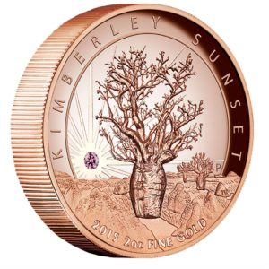 Australia 2015 - 500$ Kimberley Sunset Moneta z Diamentem - 2 uncje Różowego Złota Wysoki Relief