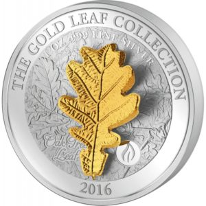 Samoa 2016 - 10$ Seria Złote Liście 3D Liść Dębu - 1 oz. Srebrna Moneta